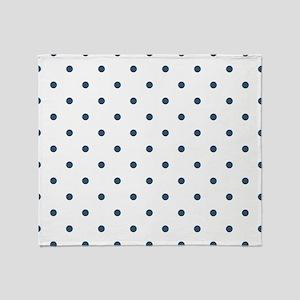 Dusky Blue Small Polka Dots (Reverse Throw Blanket