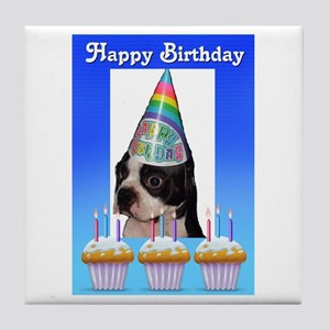 HAPPY BIRTHDAY DOG Tile Coaster