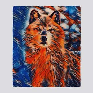 Brave Wolf Wildlife Throw Blanket