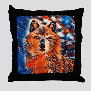 Brave Wolf Wildlife Throw Pillow