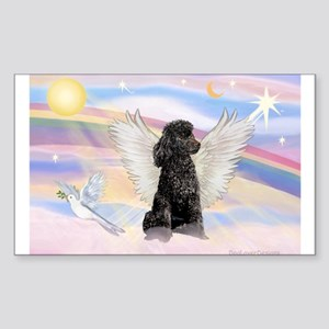 Angel/Poodle(blk Toy/Min) Rectangle Sticker