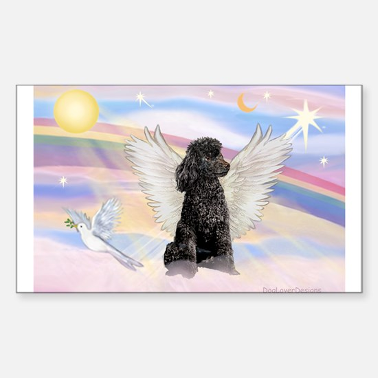 Angel/Poodle(blk Toy/Min) Rectangle Decal