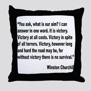 Churchill Victory Quote Throw Pillow