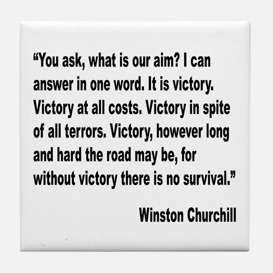 Churchill Victory Quote Tile Coaster