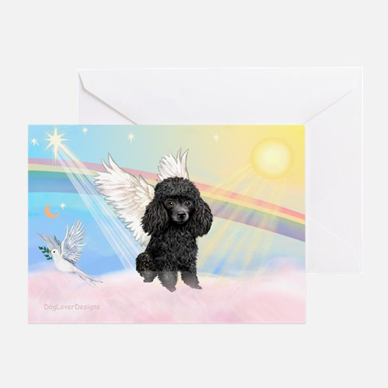 Angel /Poodle (blk Toy/Min) Greeting Card