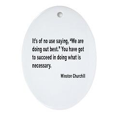 Churchill Necessary Success Quote Oval Ornament