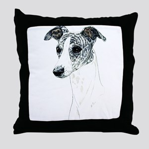 Brindle Whippet Dog Portrait Throw Pillow