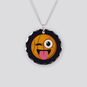 Basketball Tongue Emoji Necklace Circle Charm