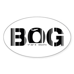 Bogota Airport Code Colombia BOG Oval Decal