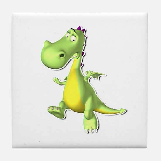 Green Dino Tile Coaster