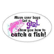 Move Over Boys - Fish Sticker (Oval)
