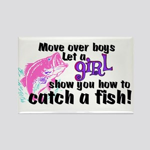 Move Over Boys - Fish Rectangle Magnet