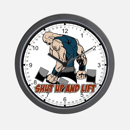 Shut Up and Lift Weightlifter Wall Clock