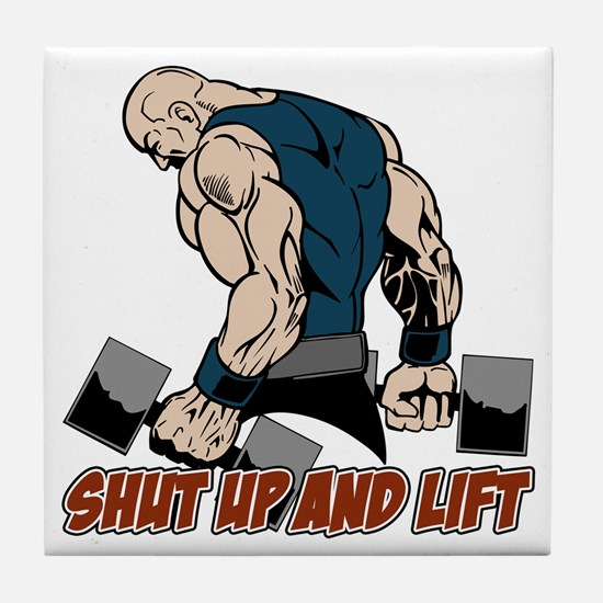 Shut Up and Lift Weightlifter Tile Coaster