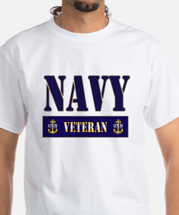 Navy Veteran Block White T-Shirt