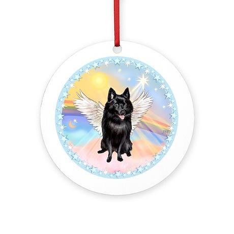 W - Schipperke Angel Ornament (Round)