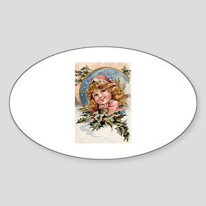 Christmas Holly Oval Sticker