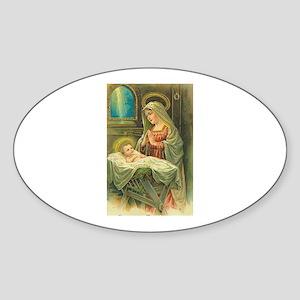 Mary & Jesus Oval Sticker