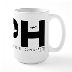 Copenhagen Airport Denmark CPH Black Des Large Mug