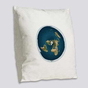 Flat Earth 1 Burlap Throw Pillow