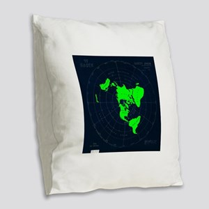 Flat Earth Map Disk Burlap Throw Pillow