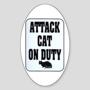 Attack Cat Oval Sticker