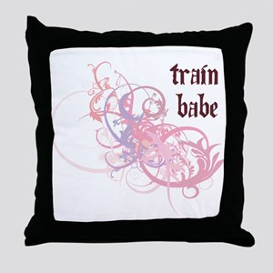Train Babe Throw Pillow