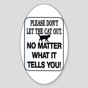 Cat Out Oval Sticker