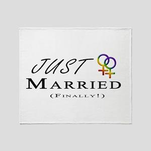 Just Married (Finally) Lesbian Pride Throw Blanket