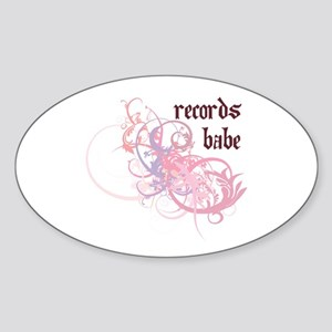 Records Babe Oval Sticker