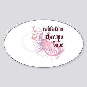 Radiation Therapy Babe Oval Sticker