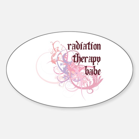 Radiation Therapy Babe Oval Decal