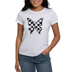 Checkered Butterfly Women's T-Shirt