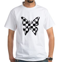 Checkered Butterfly White T-Shirt
