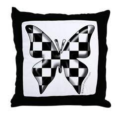 Checkered Butterfly Throw Pillow