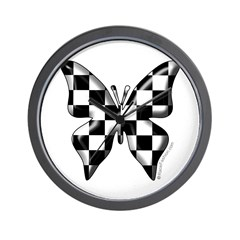 Checkered Butterfly Wall Clock