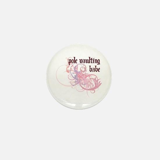 Pole Vaulting Babe Mini Button