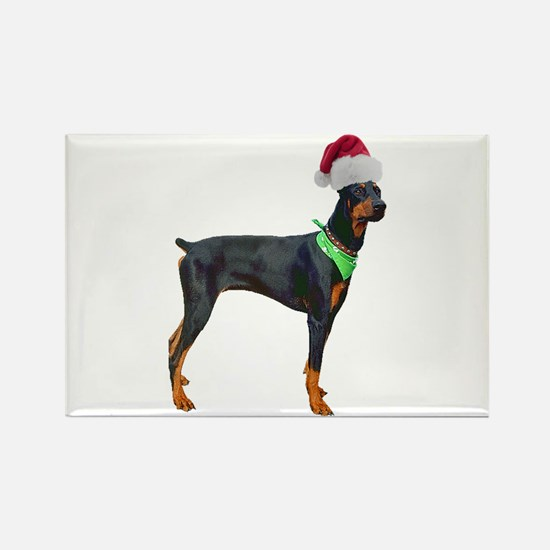 Santa Doberman Pinscher Rectangle Magnet