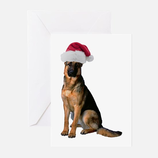 Santa German Shepherd Greeting Cards (Pk of 10)