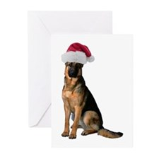 Santa German Shepherd Greeting Cards (Pk of 20)