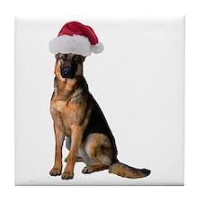 Santa German Shepherd Tile Coaster