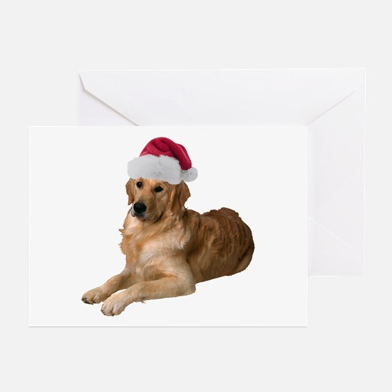 Santa Golden Retriever Greeting Cards (Pk of 20)