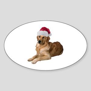 Santa Golden Retriever Oval Sticker