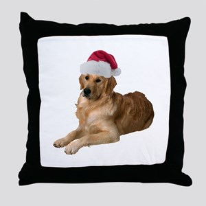 Santa Golden Retriever Throw Pillow