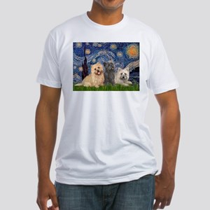 Starry/3 Cairn Terriers Fitted T-Shirt
