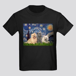 Starry/3 Cairn Terriers Kids Dark T-Shirt