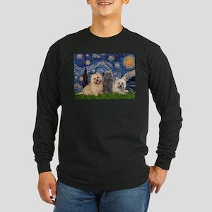 Starry/3 Cairn Terriers Long Sleeve Dark T-Shirt