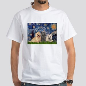 Starry/3 Cairn Terriers White T-Shirt