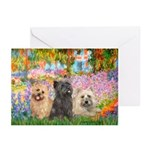 Garden/3 Cairn Terriers Greeting Cards (Pk of 10)