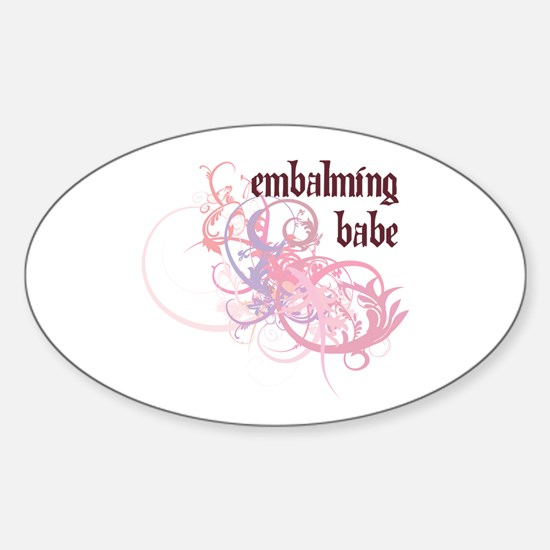Embalming Babe Oval Decal